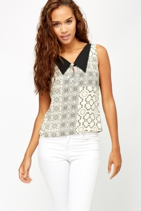 Collared Multi Print Crop Top