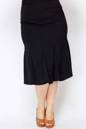 Black Structured Suit Skirt