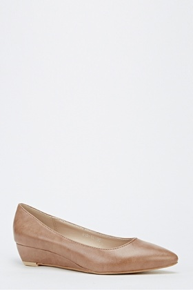 Faux Leather Point Mid Wedge Heels