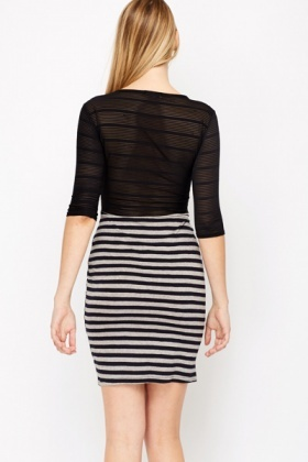 Mesh Insert Stripe Dress