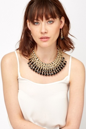 Gold Black Beaded Necklace And Earrings Set