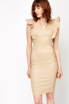 Ruffle Sleeve Pencil Dress