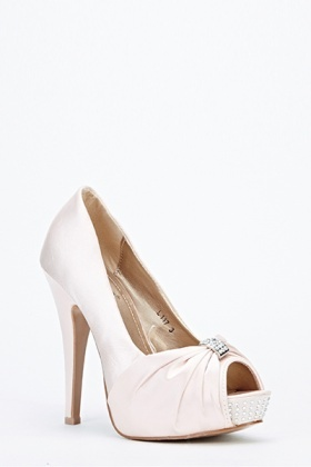 Sateen Encrusted Peep Toe Heels