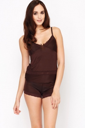 Silky Feel Lace Trim Cami And Shorts Set