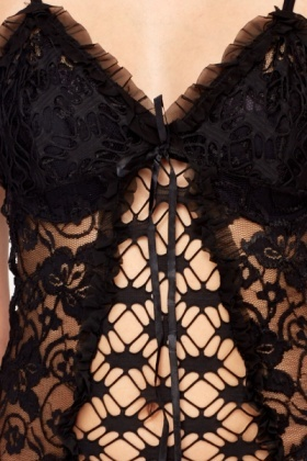Black Mesh Chemise And Thong Set