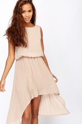 Diamante Trim Pleated Front Dress