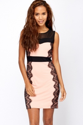 Lace Panel Sides Bodycon Dress