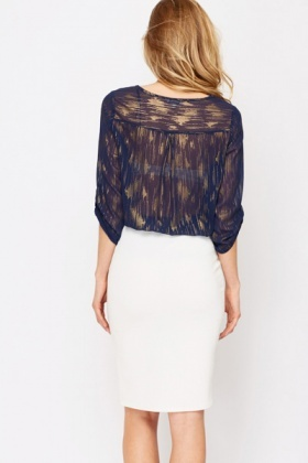 Metallic Streak Sheer Blouse