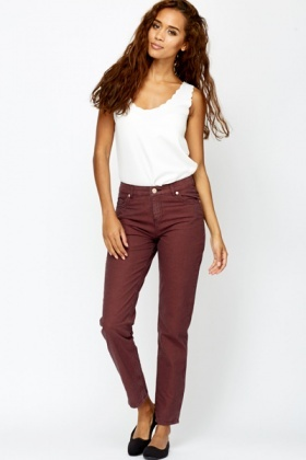Striped Maroon/Grey Trousers