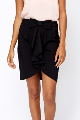 Bow Ruffle Front Skirt