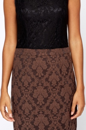 Contrast Jacquard Bodycon Dress