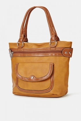 Faux Leather Pocket Front Handbag