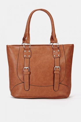 Faux Leather Twin Buckle Handbag