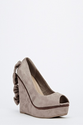 Bow Back Peep Toe Wedge