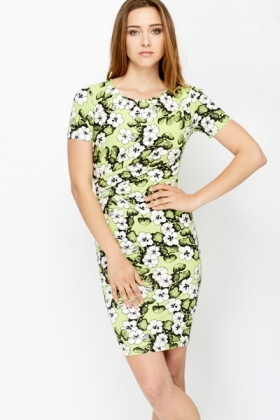 Lime/White Floral Bodycon Dress
