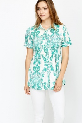 Paisley Print Ruched Front Blouse