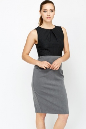 Sleeveless Contrast Office Dress