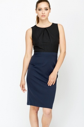 Sleeveless Contrast Office Dress Just