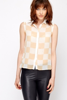 Check Front Sheer Blouse