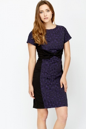 Contrast Panel Bow Front Dress