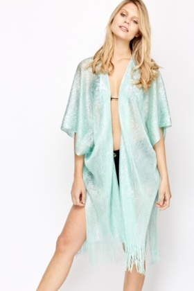 Open Front Shimmer Fringed Poncho