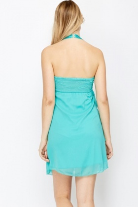 Ruffle Layered Halter Neck Dress
