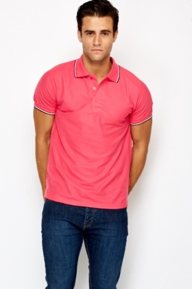 Mens Striped Collar Polo Shirt