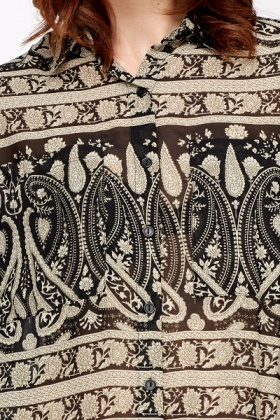 Ornate Print Sheer Blouse