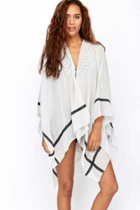 Polka Dot Trim Beach Cover Up