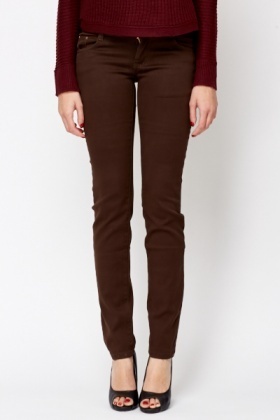 Straight Leg Brown Trousers