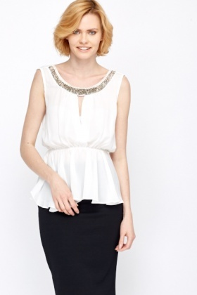 Beaded Embellished Cut Out Front Top