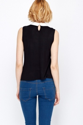 Contrast Collar Sleeveless Top