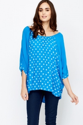 Polka Dot Panel Batwing Sleeve Blouse