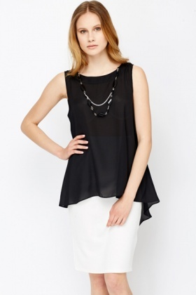 Beaded Necklace Dip Hem Top