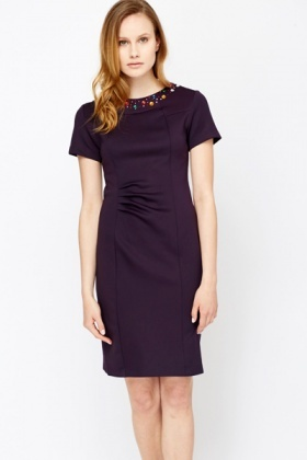 Encrusted Neck Ruched Front Dress