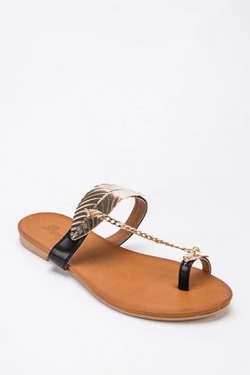 Gold Leaf Design Sandals