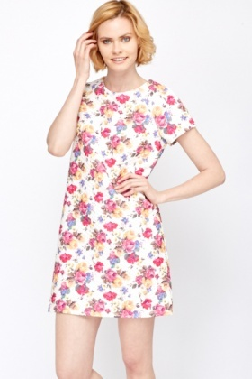 Quilted Scuba Floral Dress