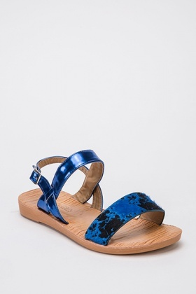 Contrast Animal Print Sandals