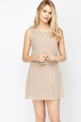 Cut Out Neck Diamante Chiffon Dress