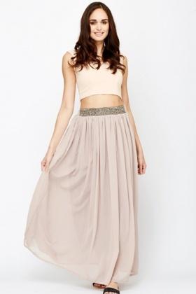 Embellished Waist Sheer Maxi Skirt - Just £5