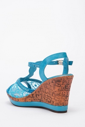 Mesh Diamante Wedge Sandals