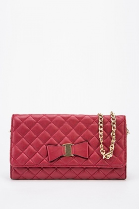 Quilted Bow Front Red Clutch