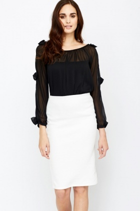Cut Out Bow Trim Sleeved Sheer Blouse