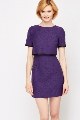 Floral Embossed Double Layer Dress