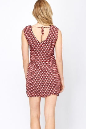 Geo Print Contrast Trim Shift Dress