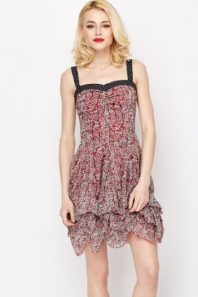 Polka Dot Trim Floral Print Dress