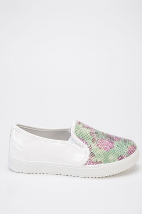 Contrast Floral Slip On Shoes