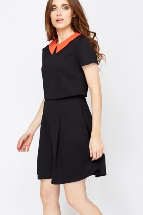 Jacquard Contrast Collar Dress