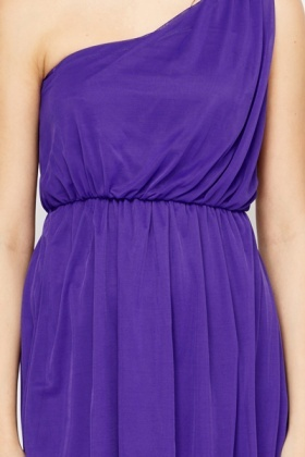 One Shoulder Violet Party Dress