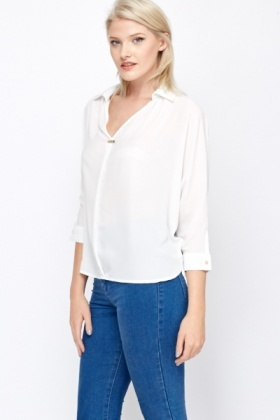 Oversized Diamante Trim Blouse